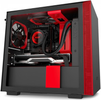 Корпус NZXT Mini-Tower H210i Mini ITX Black/Red Chassis with Smart Device 2, 2x120mm Aer F Case Fans, 1xLED Strip (CA-H210I-BR)