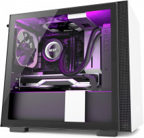 Корпус NZXT Mini-Tower H210i Mini ITX White/Black Chassis with Smart Device 2, 2x120mm Aer F Case Fans, 1xLED Strip (CA-H210I-W1)