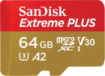 Карта памяти SANDISK Extreme Plus microSDXC 64GB + SD Adapter + Rescue Pro Deluxe 170MB/s A2 C10 V30 UHS-I U3 (SDSQXBZ-064G-GN6MA)