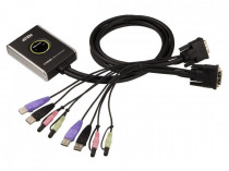 KVM ATEN +Audio, 1 user USB+DVI-D => 2 cpu USB+DVI-D, со встр.шнурами USB+Audio 2x1.2м., 1920x1200, настол., исп.стандарт. (CS682-AT)