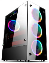 Корпус 1STPLAYER Midi-Tower FIRE DANCING V6 ATX, tempered glass side panels 4x 120mm LED fans (V6-4R1)