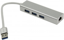 Ethernet-адаптер GREENCONNECT USB 3.0 на 3 порта + 10/100Mbps Ethernet Network metall (GCR-AP05)