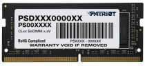 Память PATRIOT MEMORY SO-DIMM DDR 4 DIMM 4Gb PC21300, 2666Mhz, PATRIOT Signature retail (PSD44G266681S)