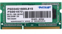 Память PATRIOT MEMORY SO-DIMM DDR3 4Gb 1600MHz 1.35V (PSD34G1600L81S)
