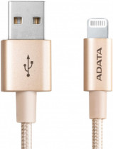 Кабель ADATA USB Cable Lightning-USB 1m, Aluminum casings, Sync & Charge, Fast charging up to 2.4A, Apple MFi-certified, Gold, RTL (AMFIAL-1MK-CGD)