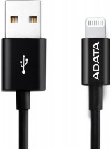 Кабель ADATA USB Cable Lightning-USB 1m, Sync & Charge, Fast charging up to 2.4A, Apple MFi-certified, Black, RTL (AMFIPL-1M-CBK)