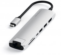 USB хаб SATECHI Type-C Slim Multiport with Ethernet Adapter. Цвет серебристый. Type-C Slim Multiport with Ethernet Adapter - Silver (ST-UCSMA3S)