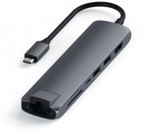 USB хаб SATECHI Type-C Slim Multiport with Ethernet Adapter. Цвет серый космос. Type-C Slim Multiport with Ethernet Adapter - Space gray (ST-UCSMA3M)