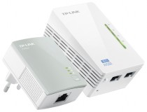 Powerline адаптер TP-LINK Powerline Ethernet + WiFi 300Мбит/с , 500 Мбит/с, Fast Ethernet, 2 шт в комплекте (TL-WPA4220KIT)