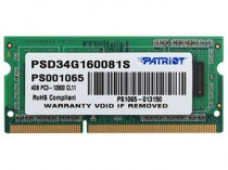 Память PATRIOT MEMORY SO-DIMM DDR3 4Gb (pc-12800) 1600MHz (PSD34G160081S)