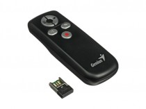 Презентер GENIUS MEDIA POINTER 100, 5 keys ESC/F5, Blank, Page Up, Page Down, Laser- Pointer, W 2.4Ghz, 2xAAA, USB, Black. (31090015100)